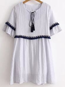 Blue Tie Neck Fringe Trim Embroidered Tape Detail Dress