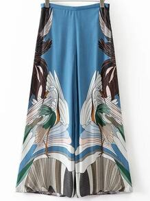 Blue Cranes Print Wide Leg Pants