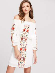 Smocked Off Shoulder Embroidered Blouson Dress