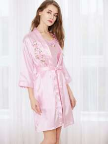 Satin Embroidered Slip With Kimono Robe