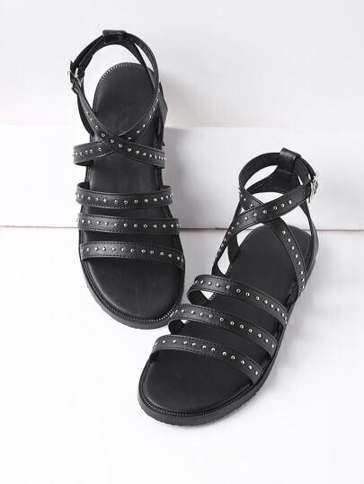 Studded Strappy Falt Sandals