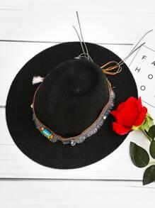 Détail Gemstone Fedora Straw Hat