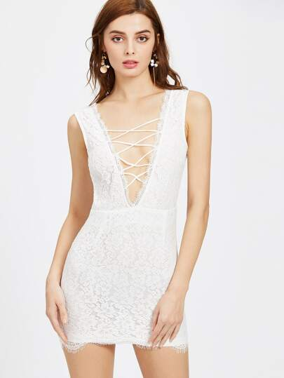 Criss Cross Front Double V Sleeveless Lace Dress