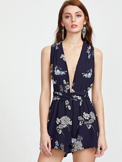 Cuello profundo de la impresión floral azul V