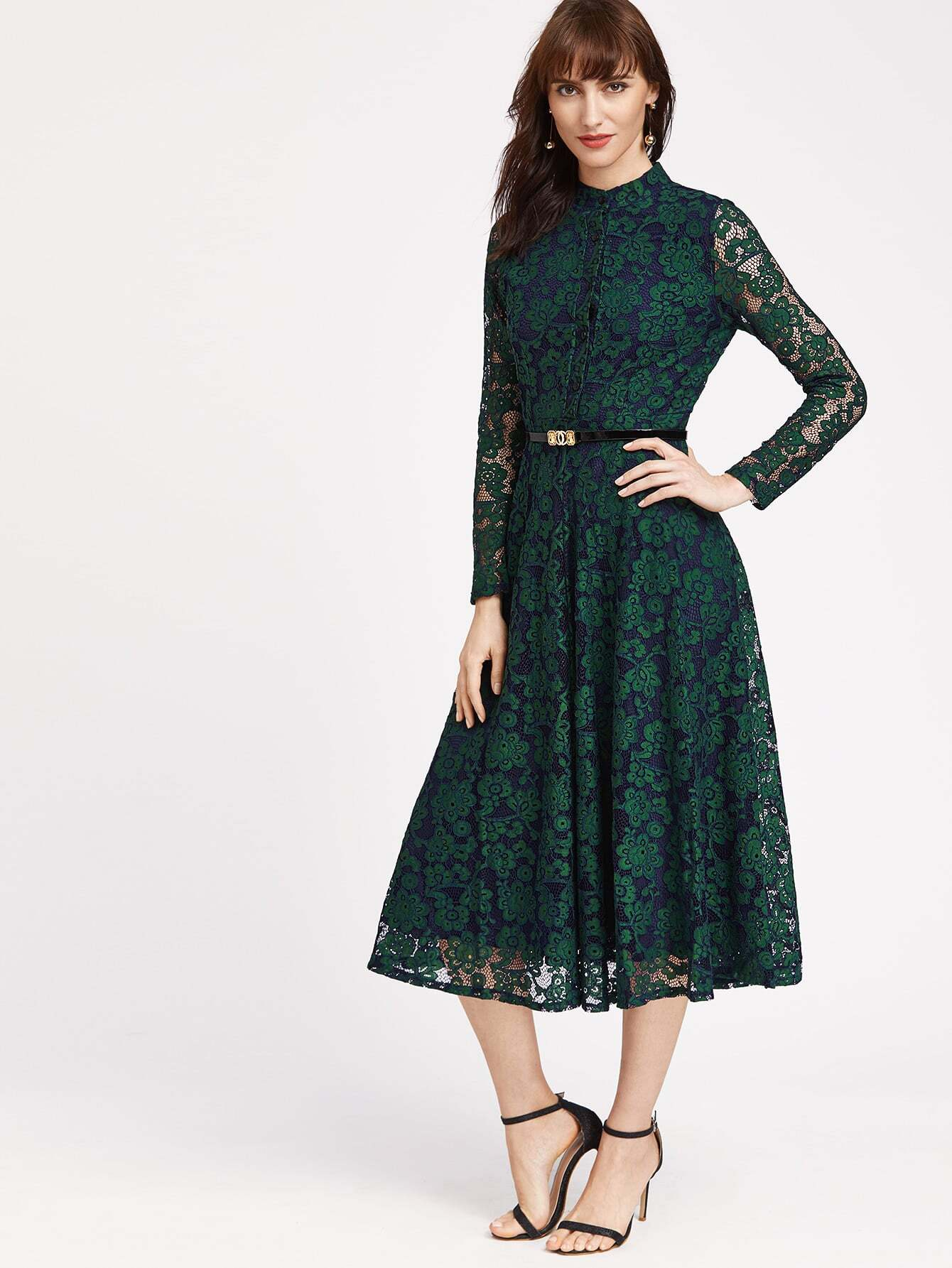Lace Dress with Belt