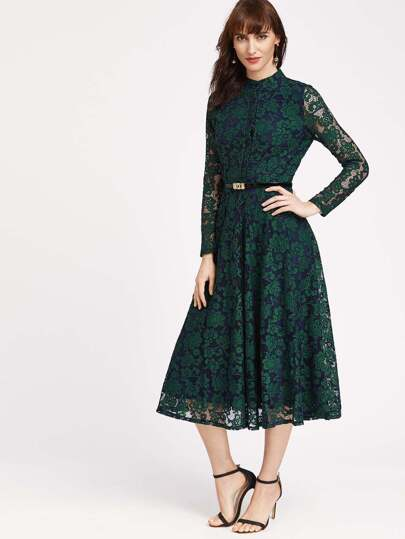 Floral Lace Overlay Dress With Belt