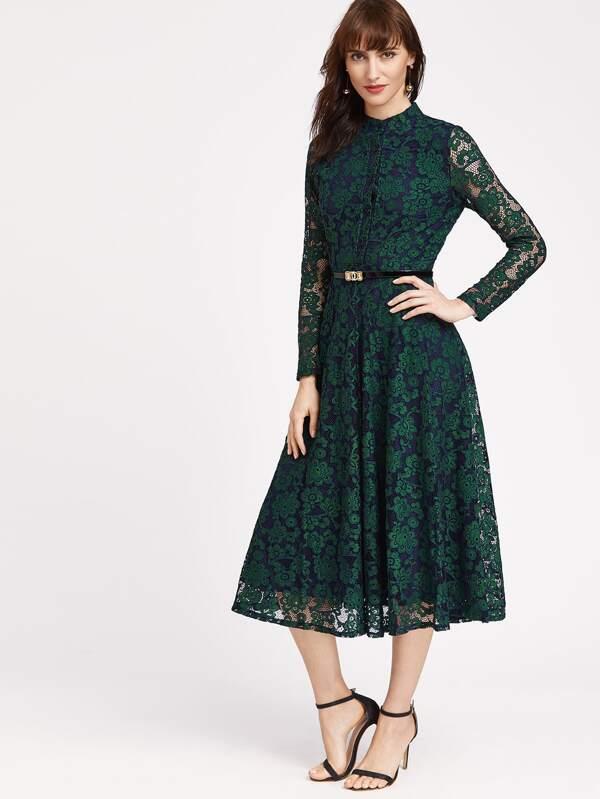 Eccezionale Vestito verde scuro floreale con rivestimento in pizzo con cintura  WB01