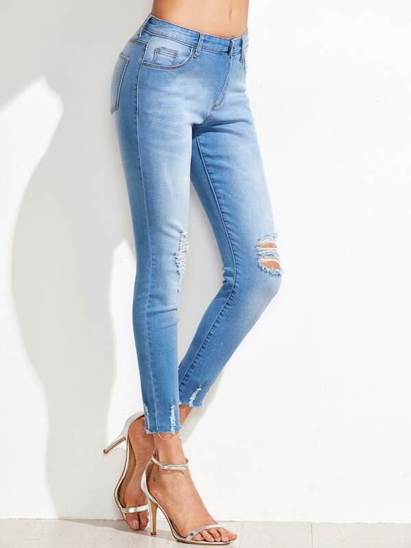 Bleach Wash Distressed Skinny Jeans, Andy