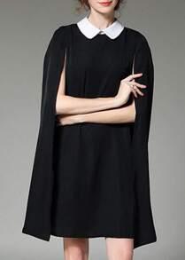 Vestido elegante de solapa con capa-negro