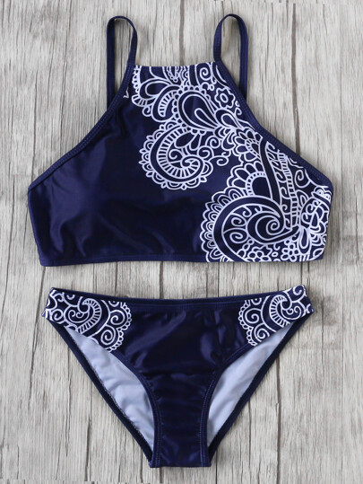 Navy Tribal Print Vintage Bikini Set