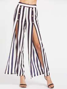 Striped Double Breasted Slit Pants