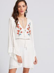 White Deep V Neck Embroidered Tassel Tie Dress