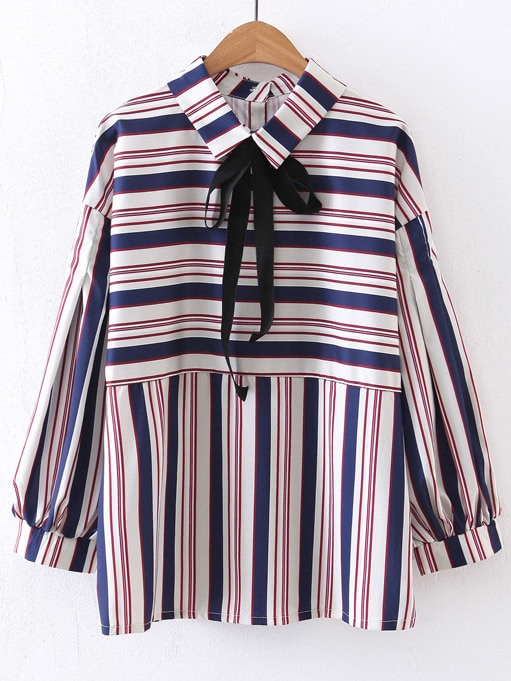 Multicolor Striped Lantern Sleeve Blouse With Bow Tie