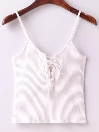 Ribbed Lace Up Front Knitted Cami Top vest170328201