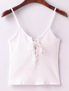 Ribbed Lace Up Front Knitted Cami Top