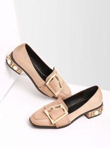 Zapatos en puntera cuadrada con correa con hebilla y perla de imitación