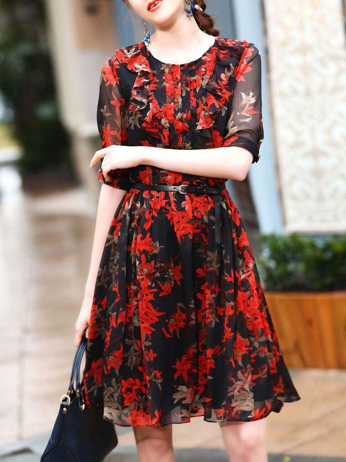 Фото Black Leaves Print Ruffle Belted Dress. Купить с доставкой