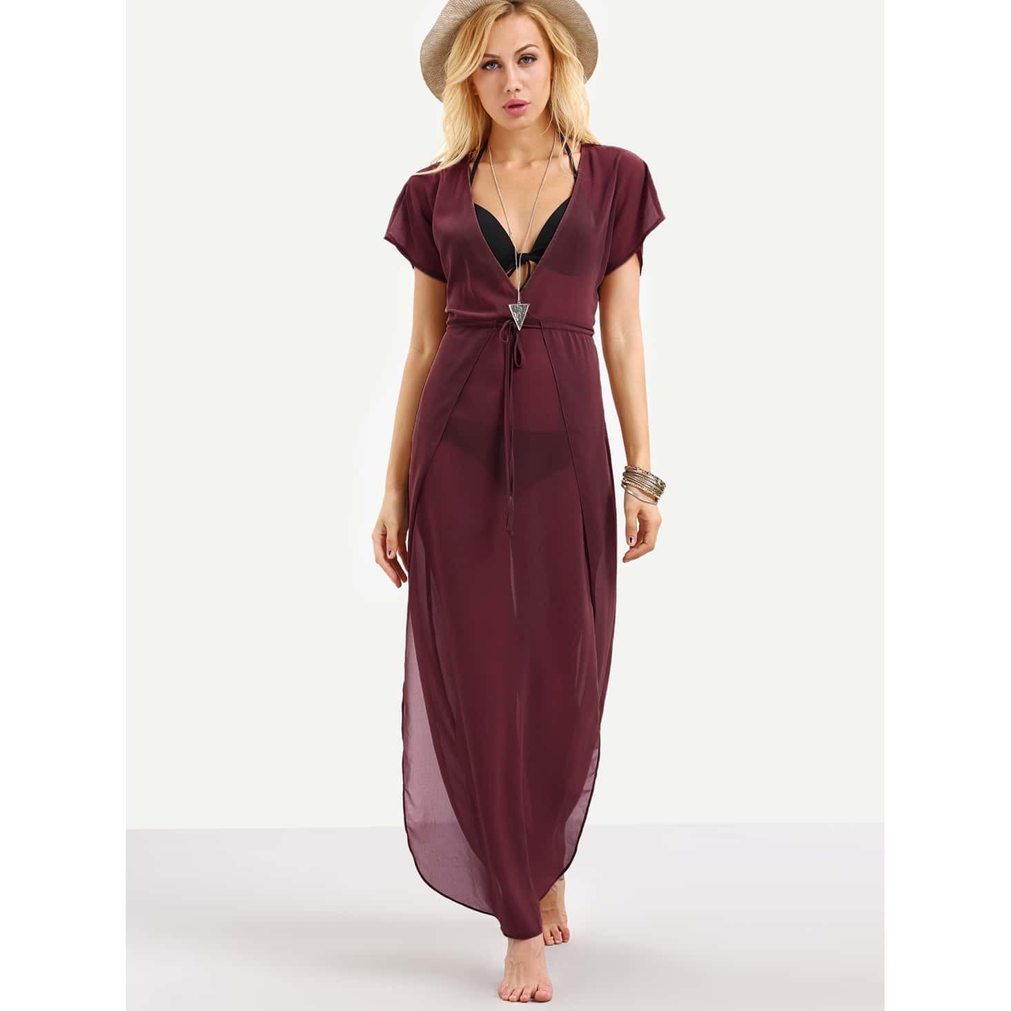 Plunge Neck Drawstring Waist Cover Up Dress
