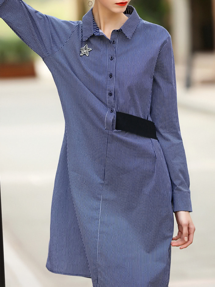 Фото Blue Lapel Striped Shirt Dress. Купить с доставкой