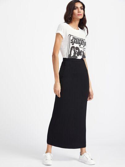 Falda larga con cintura elástica - negro