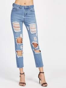 Jeans lavage cassés short effet effiloché - Bleu