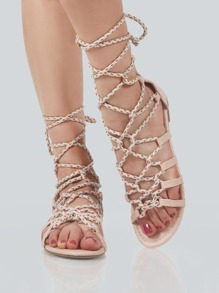 Multi Colored Cord Lace Up Sandals NUDE