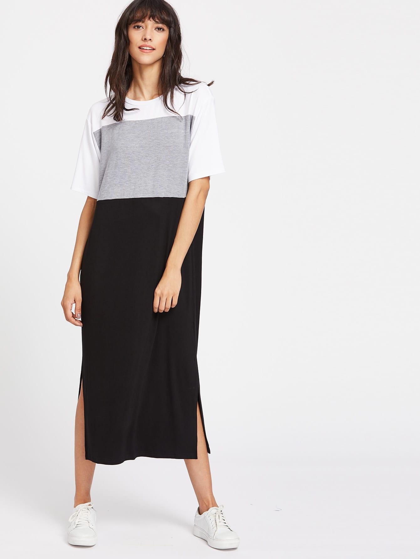 Color Block Slit Side Tee Dress color block full length tee dress