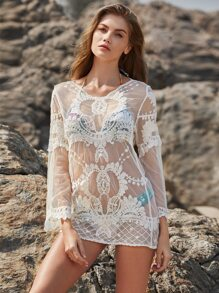 Embroidered Sheer Mesh Cover Up