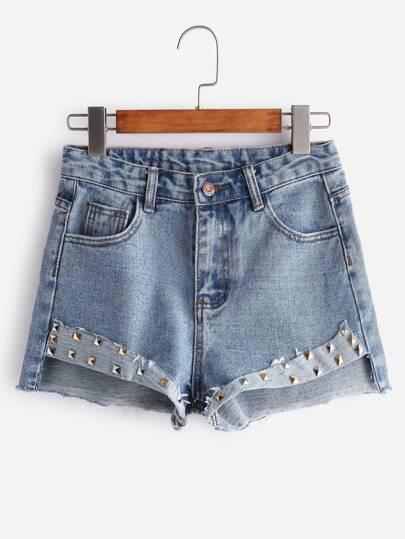 Light Blue Bleached Rivet Trim Raw Hem Denim Shorts