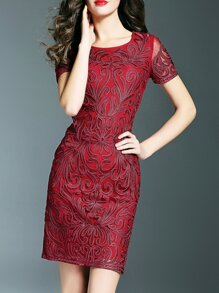 Red Disc Flowers Sheath Dress