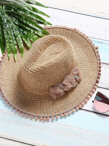 Camel Pom Pom Detail Vacation Hat With Flower