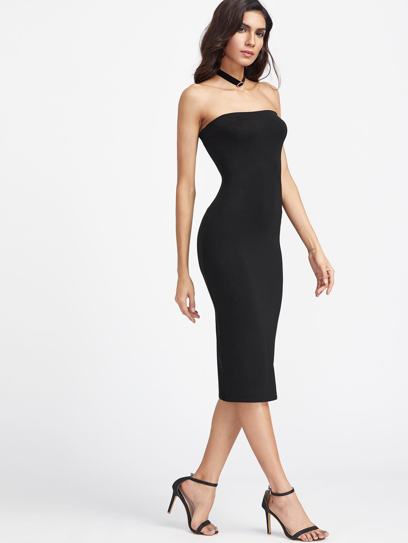 Bandeau Midi Bodycon Dress Shein Sheinside