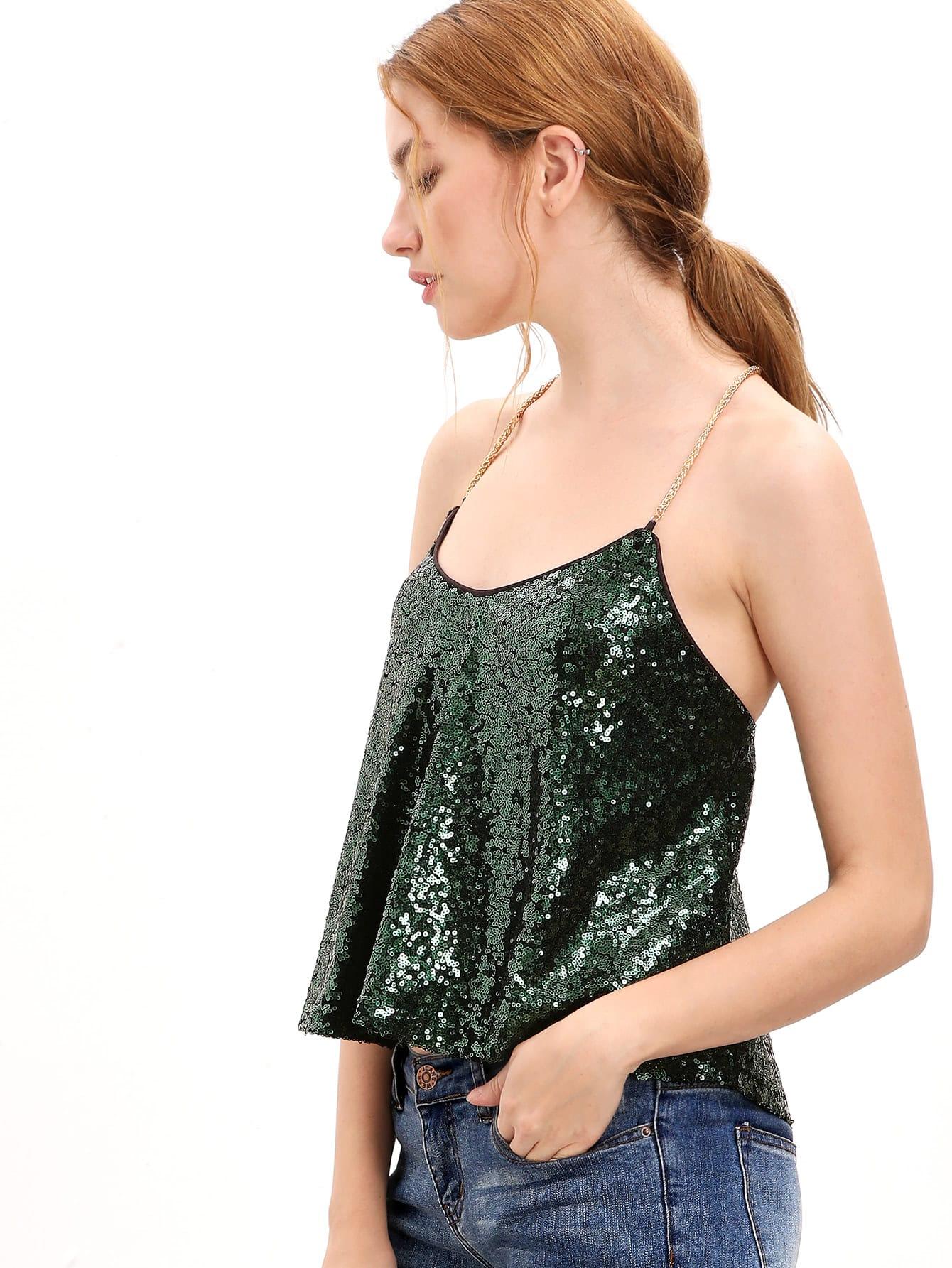 Dark Green Criss Cross Sequined Cami Top vest161011574