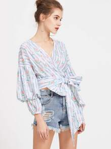Striped And Watermelon Print Gigot Sleeve Wrap Top pictures
