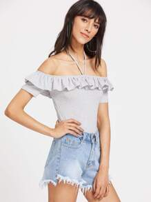 Striped Halter Off The Shoulder Ruffle Bodysuit pictures