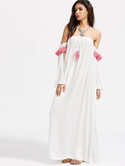 Off Shoulder Tassel Trim Maxi Dress