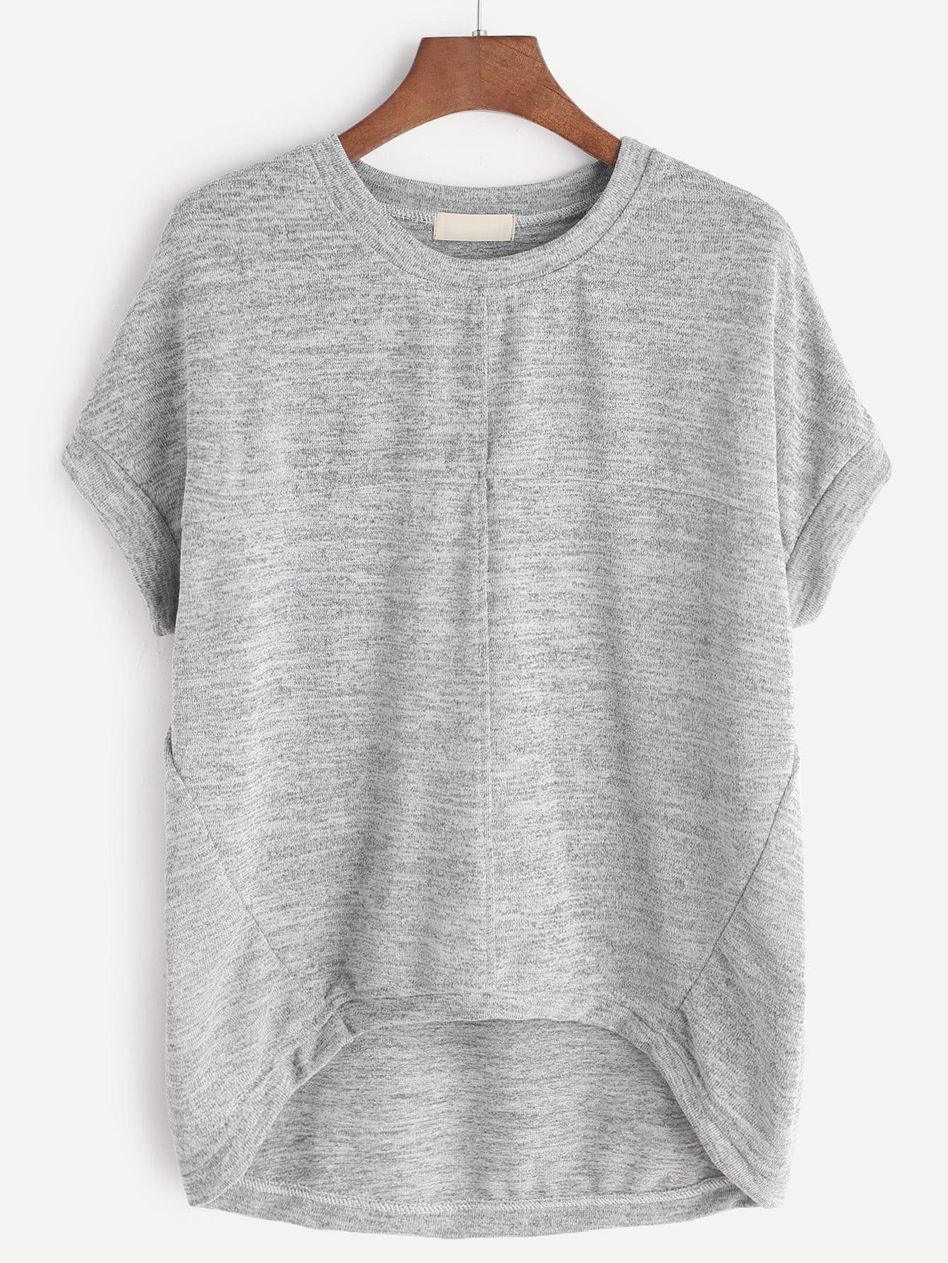 Фото High Low Marled T-shirt. Купить с доставкой