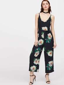 Plunging Self Tie Wide Leg Jumpsuit
