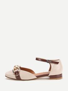 Albicocca Faux Leather caviglia Strap Flats