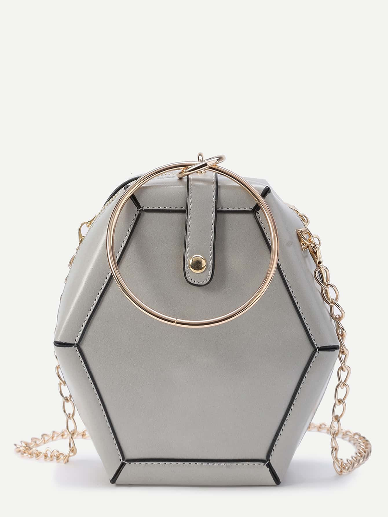 Фото Polygonal Shaped Crossbody Bag With Ring Detail. Купить с доставкой