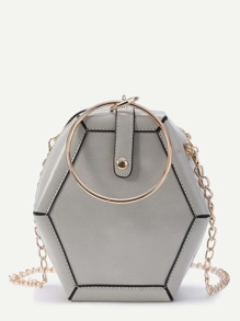 Polygonal Shaped Crossbody Bag With Ring Detail