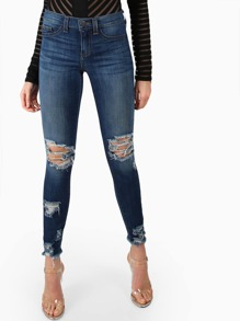 Distressed Mid Rise Skinny Jeans DENIM