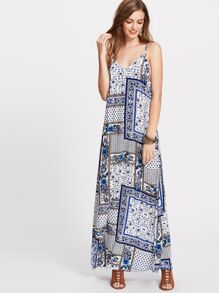 Patchwork Print Cutout V Back Slit Cami Dress