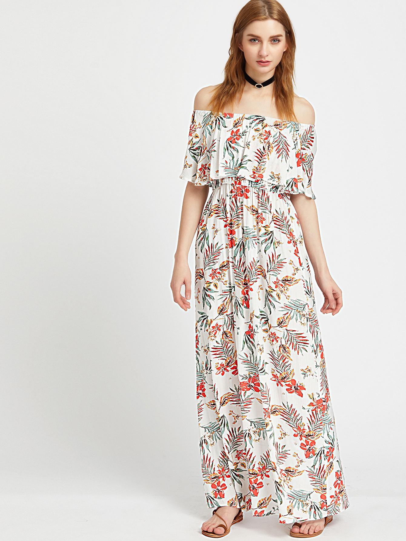 Фото Flounce Layered Neckline Tropical Print Dress. Купить с доставкой