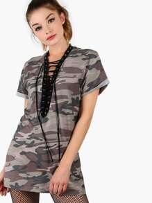 Camo Print Lace Up Plunging Mini Tee Dress