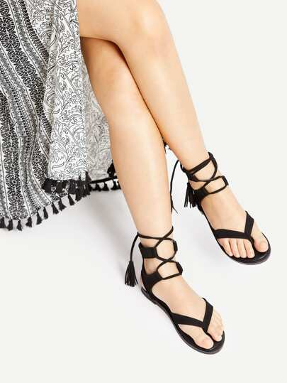 Black Tassel Tie Toe Post Sandals