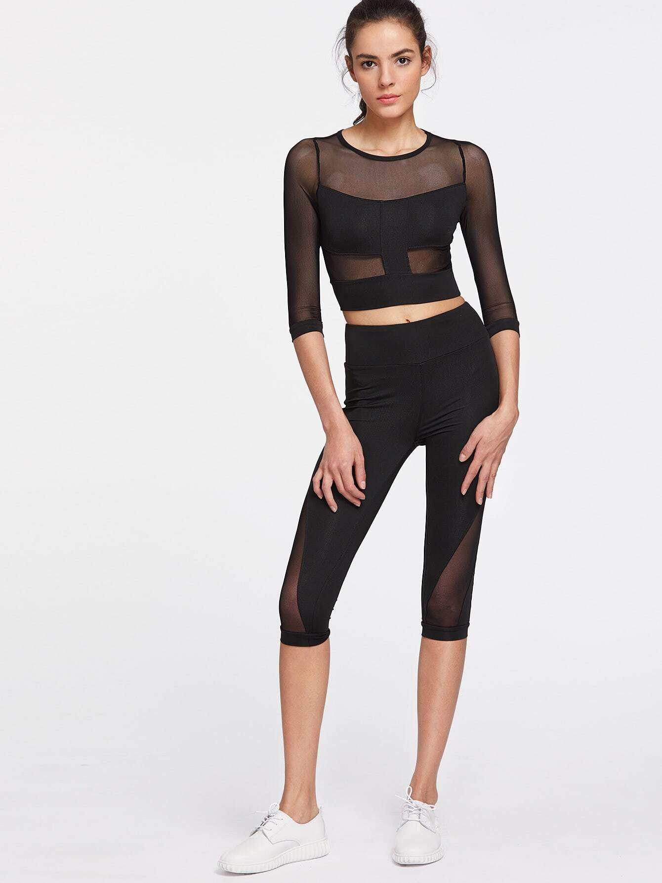 Active Mesh Paneled Top With Capri Leggings twopiece170403303