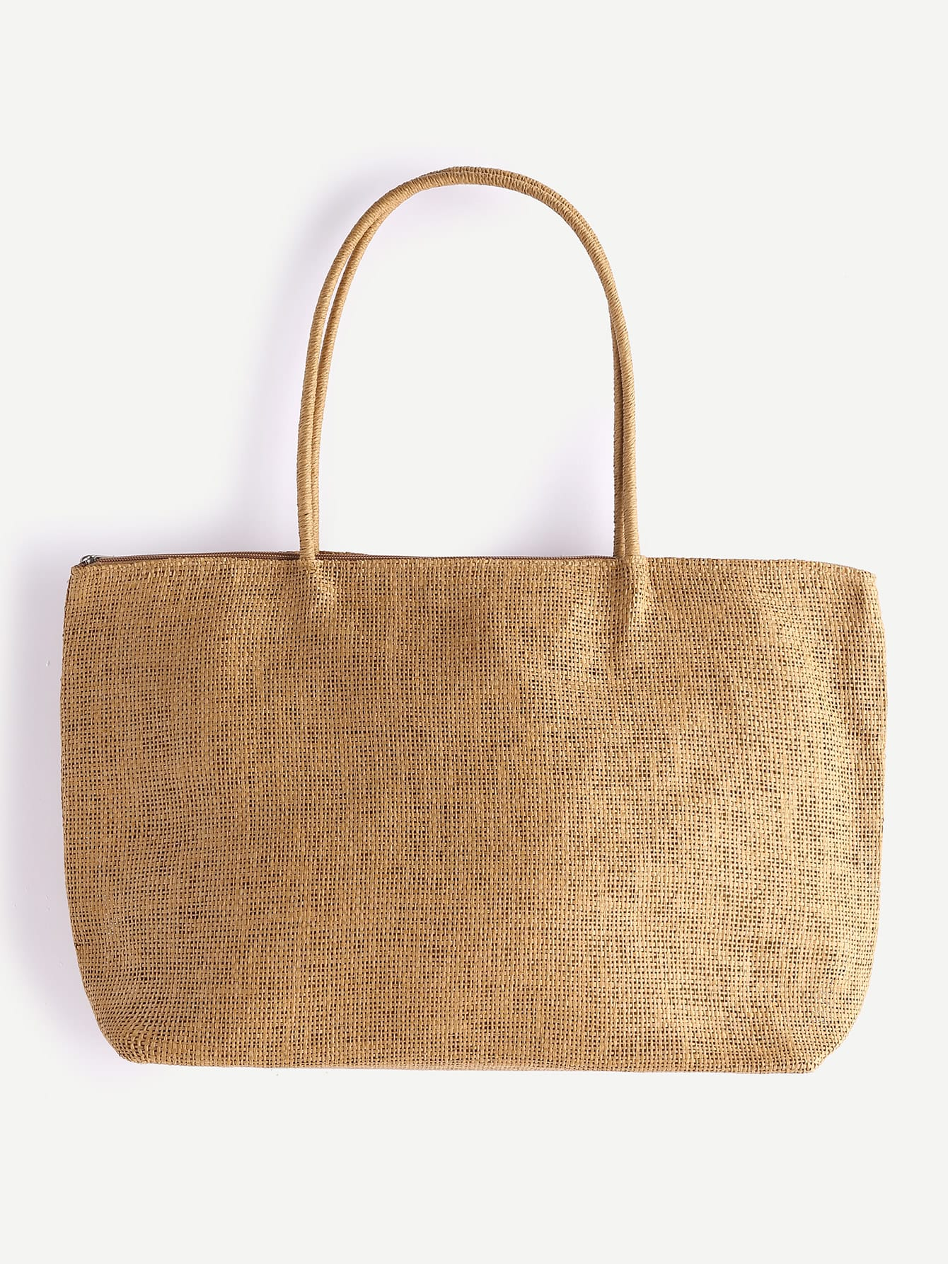 Фото Khaki Beach Style Straw Tote Bag. Купить с доставкой