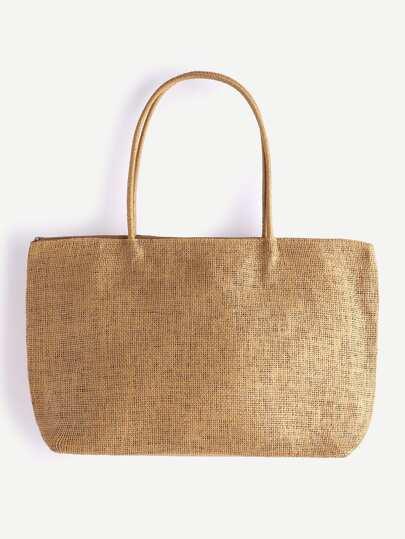 Khaki Beach Style Straw Tote Bag