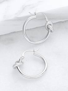 Silver Knotted Hoop Earrings